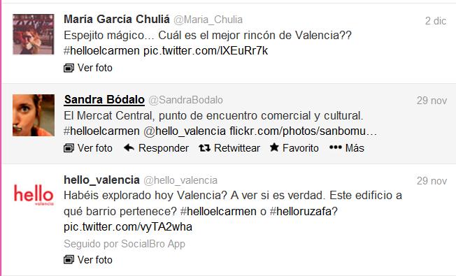 """Algunos tuits de la campaña """"Conoce Valencia de una forma diferente"""""""