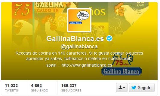 Perfil de Gallina Blanca en Twitter