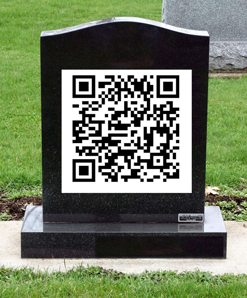 Lápida con un código QR